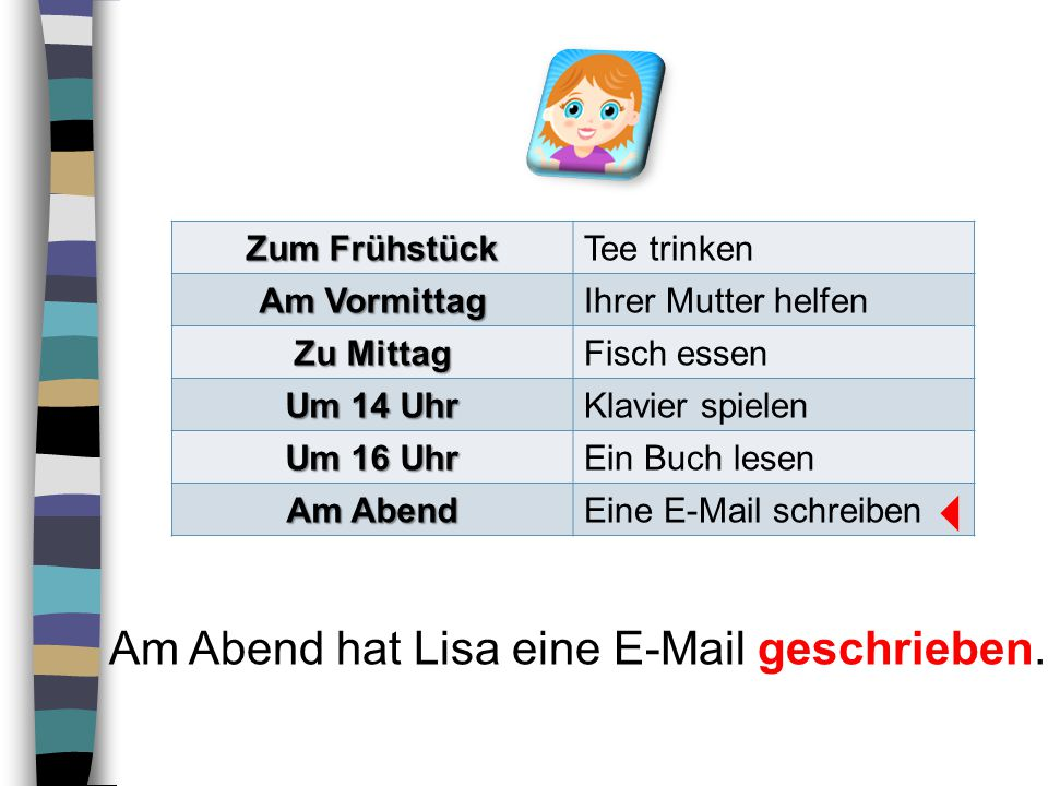  Am Abend hat Lisa eine E-Mail geschrieben. Zum Frühstück Tee trinken