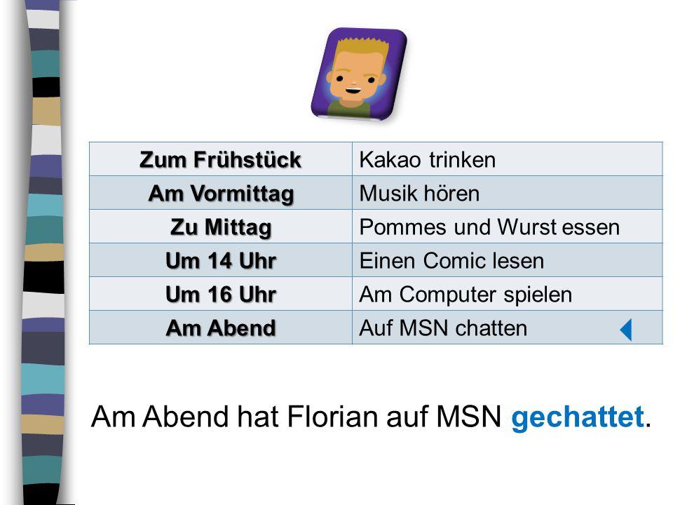  Am Abend hat Florian auf MSN gechattet. Zum Frühstück Kakao trinken