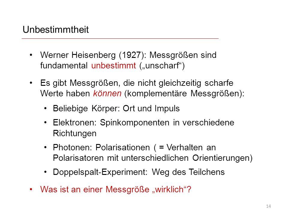 """Unbestimmtheit Werner Heisenberg (1927): Messgrößen sind fundamental unbestimmt (""""unscharf )"""