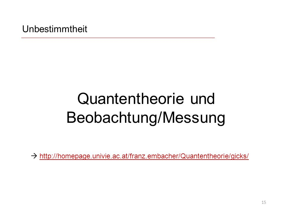 Quantentheorie und Beobachtung/Messung