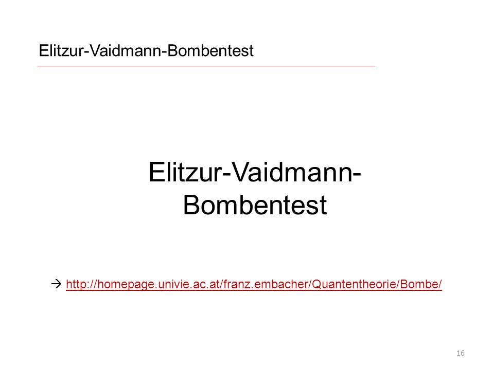 Elitzur-Vaidmann-Bombentest