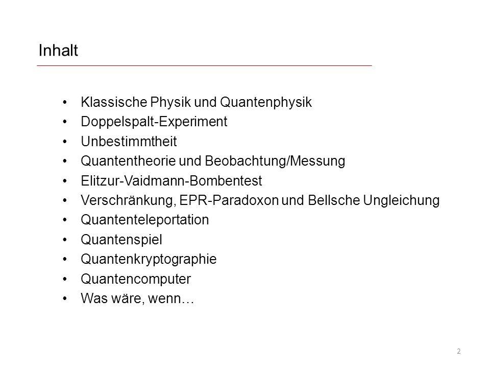 Inhalt Klassische Physik und Quantenphysik Doppelspalt-Experiment