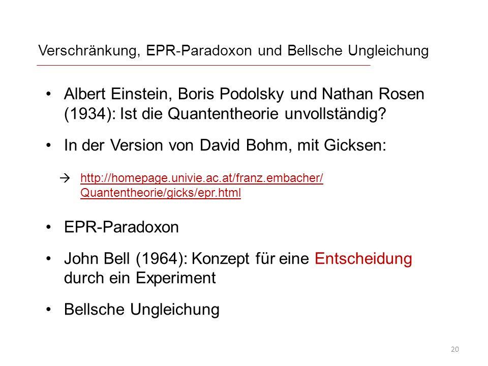 Verschränkung, EPR-Paradoxon und Bellsche Ungleichung