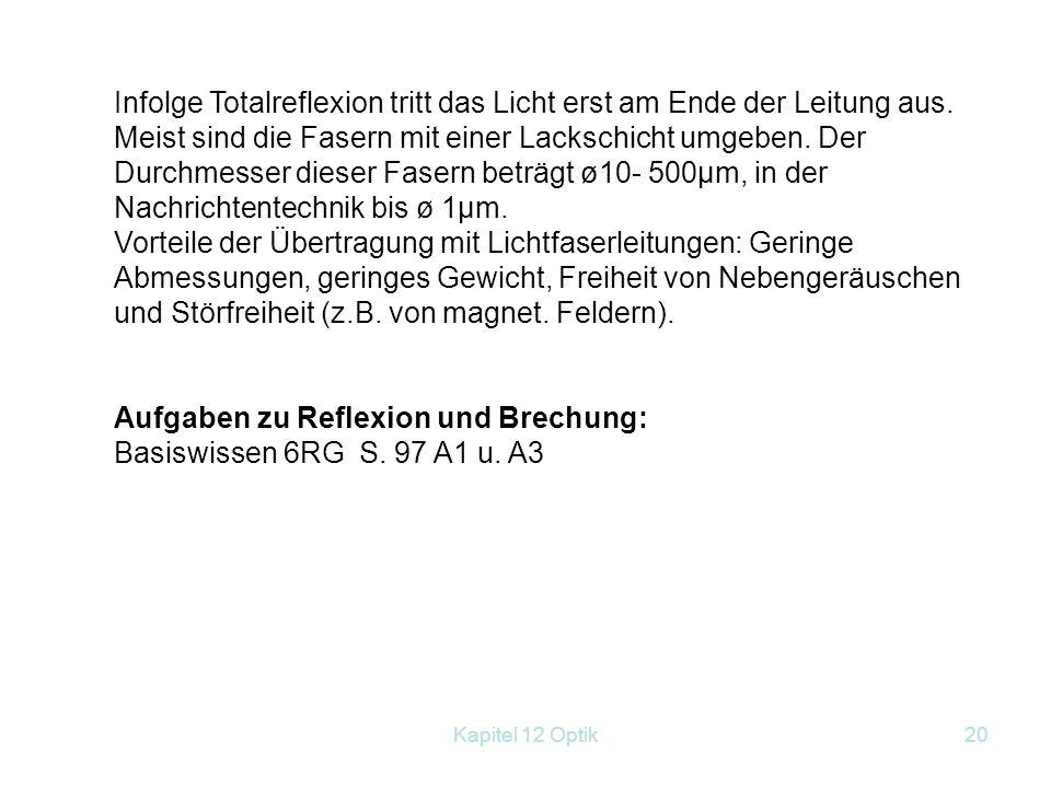 Aufgaben zu Reflexion und Brechung: Basiswissen 6RG S. 97 A1 u. A3