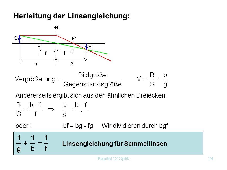 Herleitung der Linsengleichung: