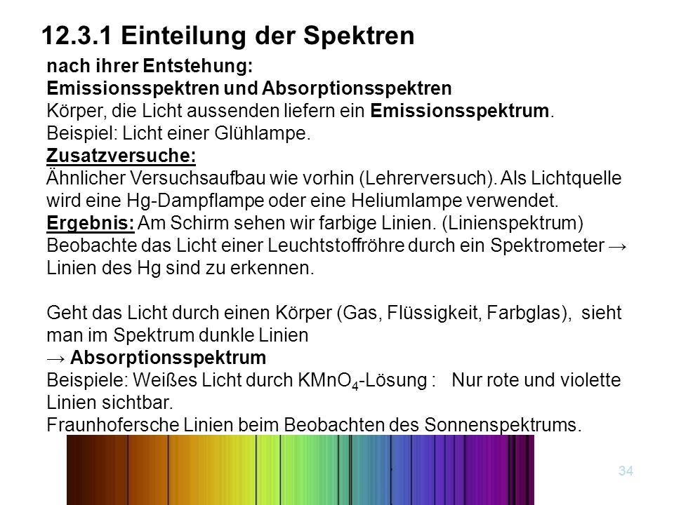 12.3.1 Einteilung der Spektren