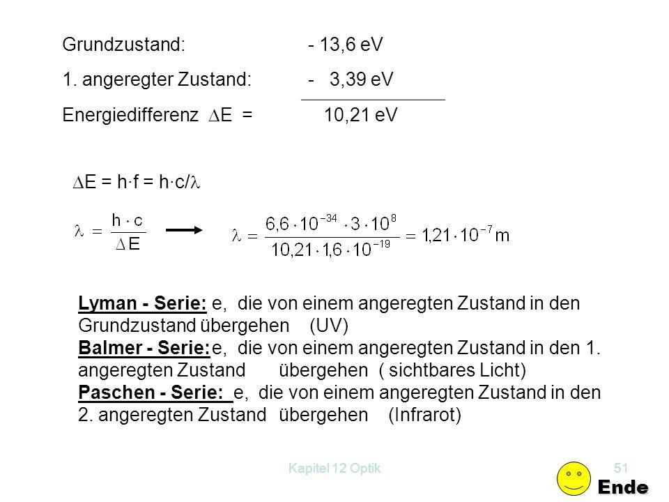 Grundzustand: - 13,6 eV 1. angeregter Zustand: - 3,39 eV
