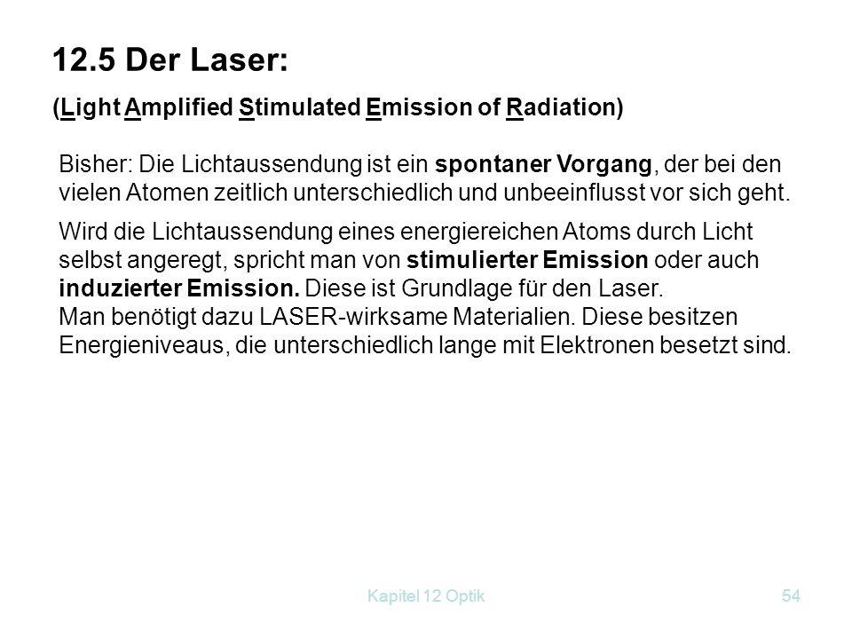 12.5 Der Laser: (Light Amplified Stimulated Emission of Radiation)