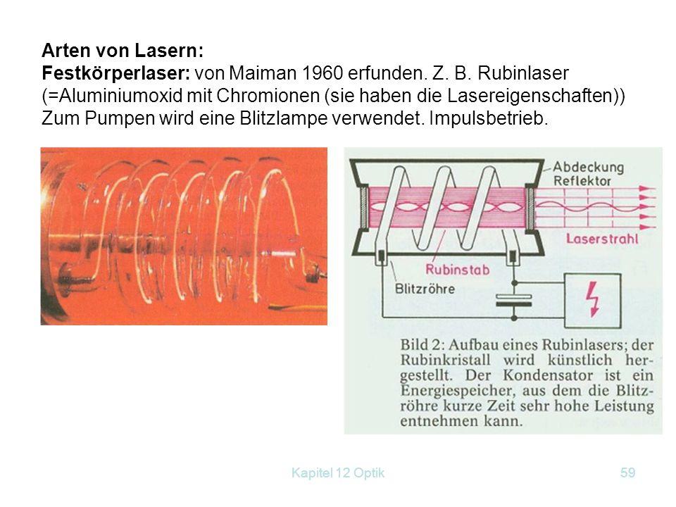 Zum Pumpen wird eine Blitzlampe verwendet. Impulsbetrieb.