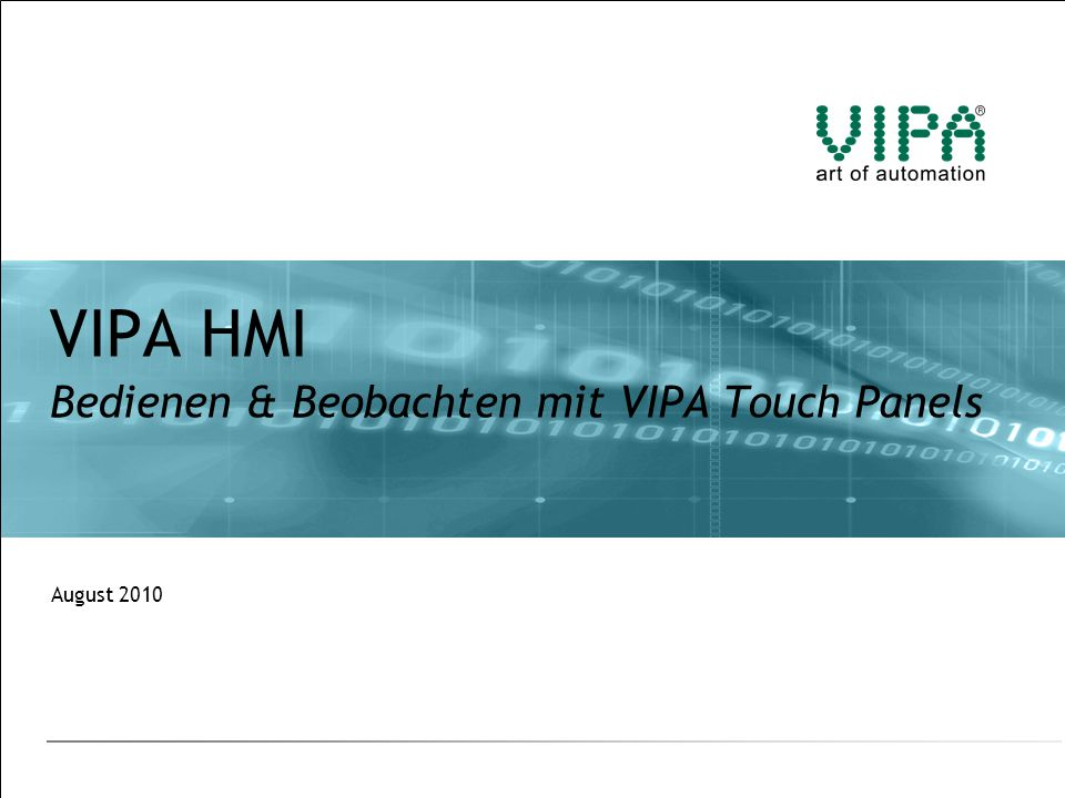VIPA HMI Bedienen & Beobachten mit VIPA Touch Panels
