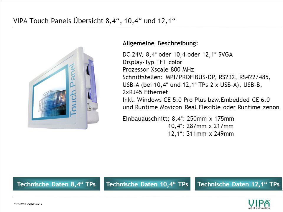 VIPA Touch Panels Übersicht 8,4 , 10,4 und 12,1