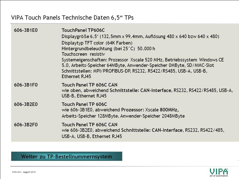 VIPA Touch Panels Technische Daten 6,5 TPs
