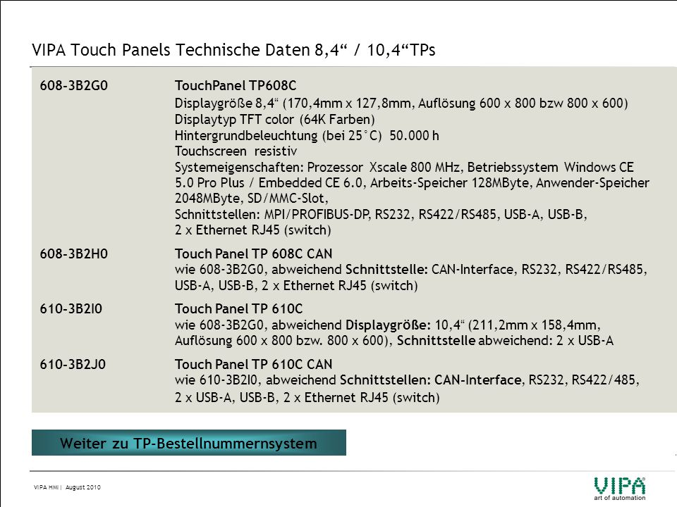 VIPA Touch Panels Technische Daten 8,4 / 10,4 TPs