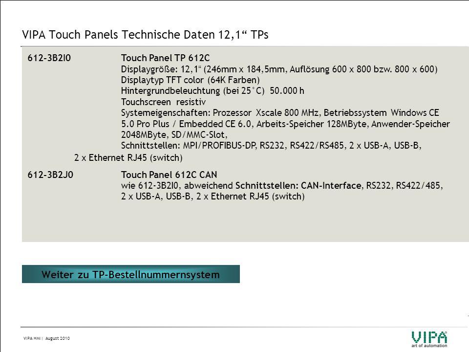 VIPA Touch Panels Technische Daten 12,1 TPs
