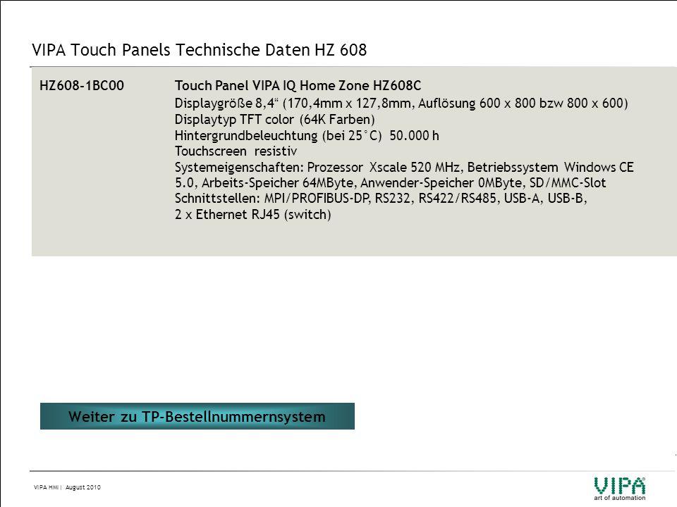 VIPA Touch Panels Technische Daten HZ 608