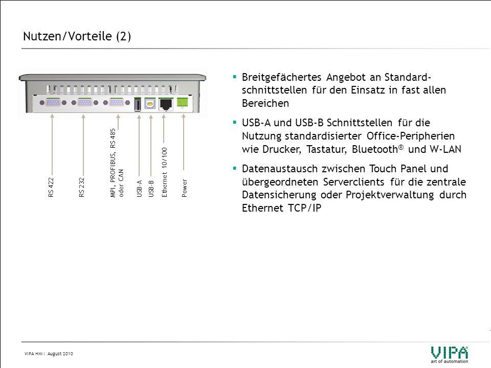 Nutzen/Vorteile (2) Breitgefächertes Angebot an Standard-schnittstellen für den Einsatz in fast allen Bereichen.