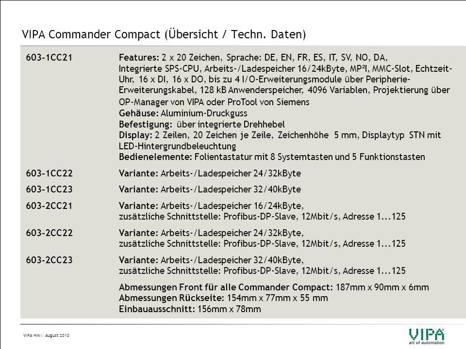 VIPA Commander Compact (Übersicht / Techn. Daten)