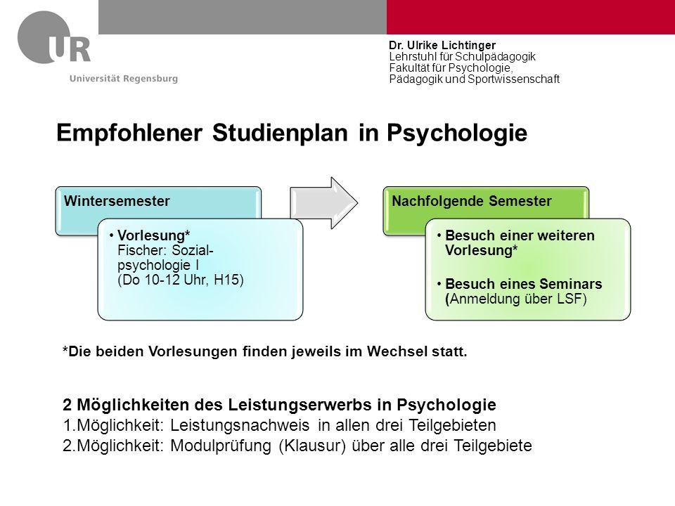 Empfohlener Studienplan in Psychologie