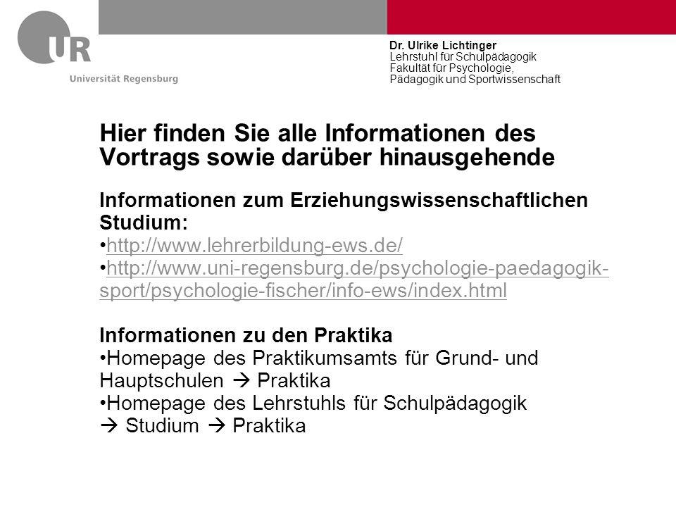 Dr. Ulrike Lichtinger Lehrstuhl für Schulpädagogik Fakultät für Psychologie, Pädagogik und Sportwissenschaft.