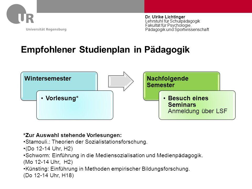 Empfohlener Studienplan in Pädagogik