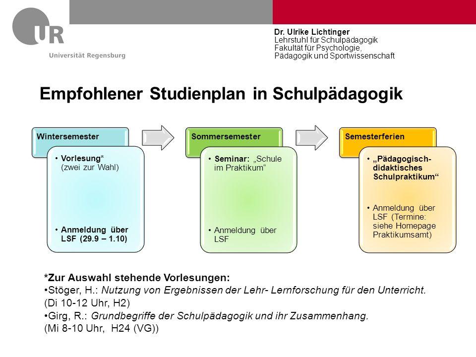 Empfohlener Studienplan in Schulpädagogik