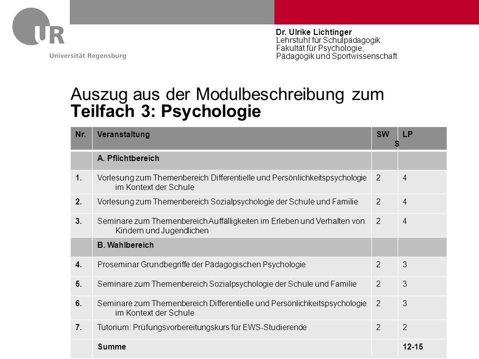 Auszug aus der Modulbeschreibung zum Teilfach 3: Psychologie