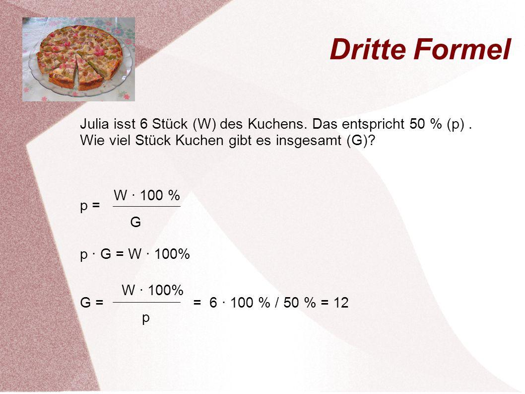 Dritte Formel Julia isst 6 Stück (W) des Kuchens. Das entspricht 50 % (p) . Wie viel Stück Kuchen gibt es insgesamt (G)