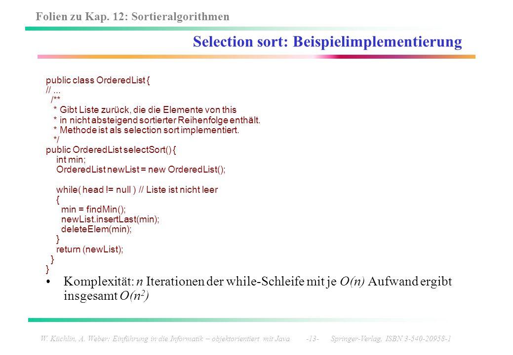 Selection sort: Beispielimplementierung