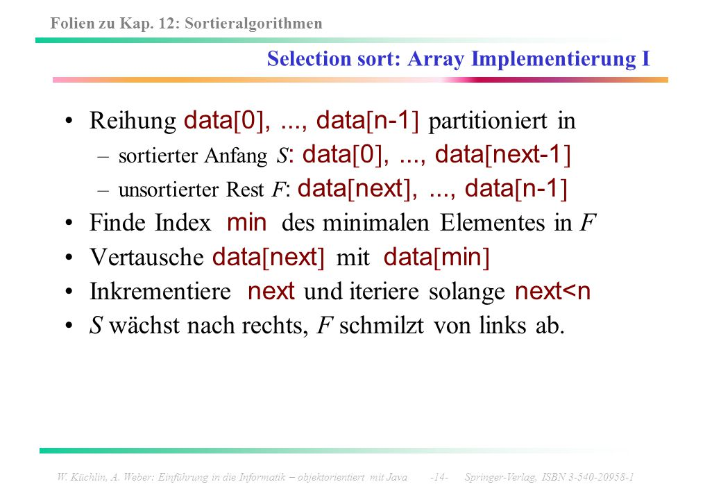 Selection sort: Array Implementierung I