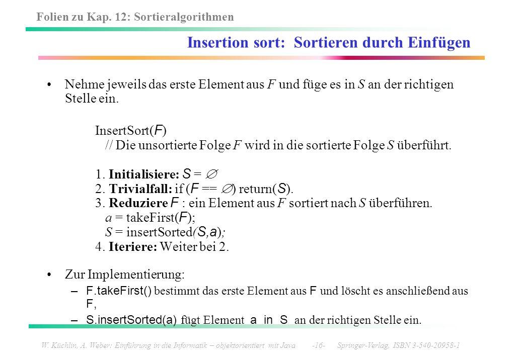 Insertion sort: Sortieren durch Einfügen