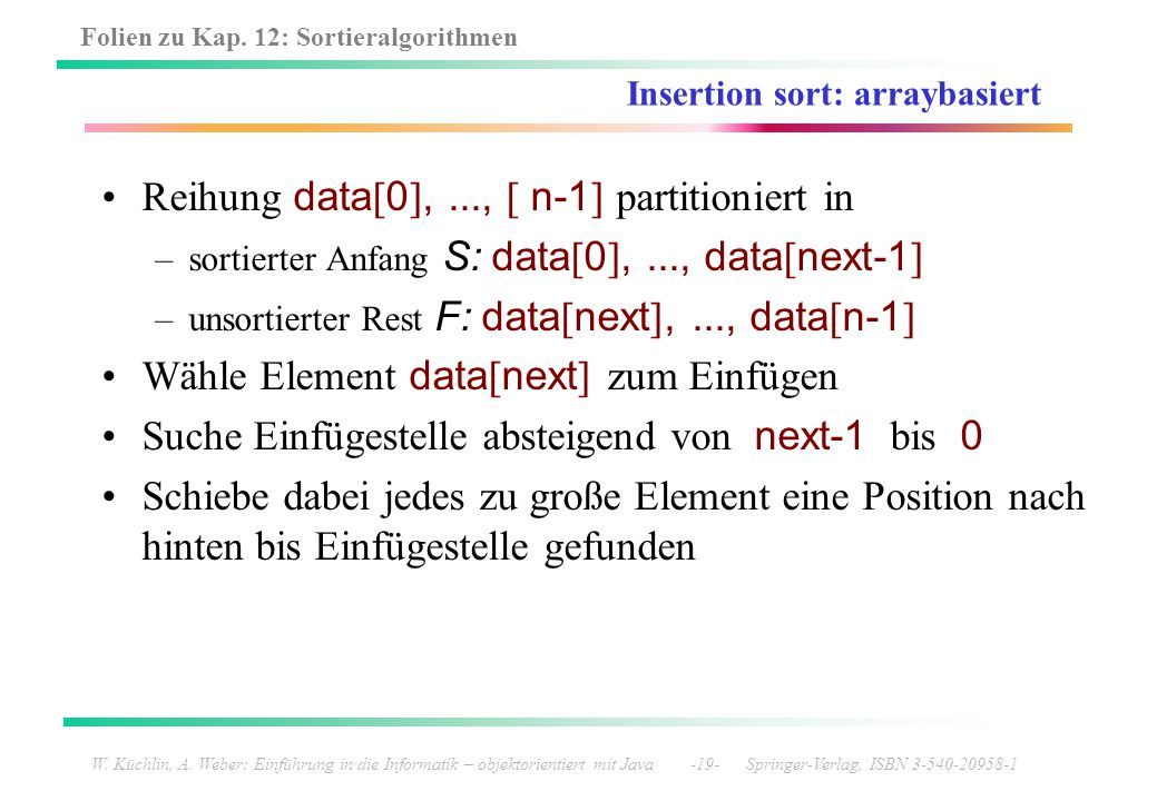 Insertion sort: arraybasiert