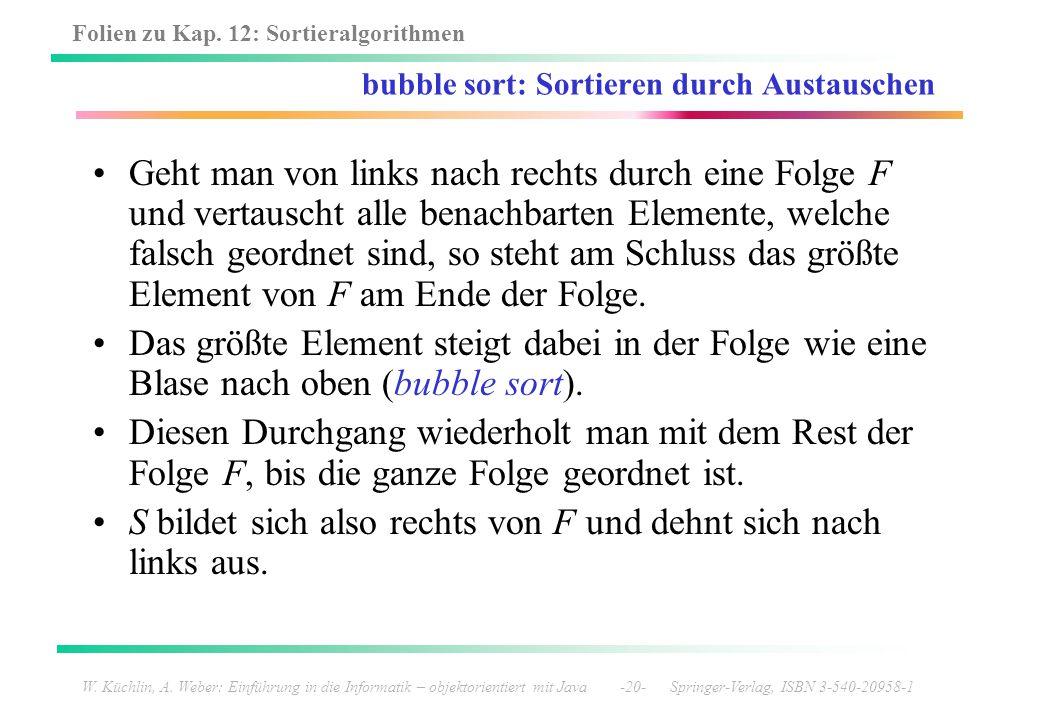 bubble sort: Sortieren durch Austauschen