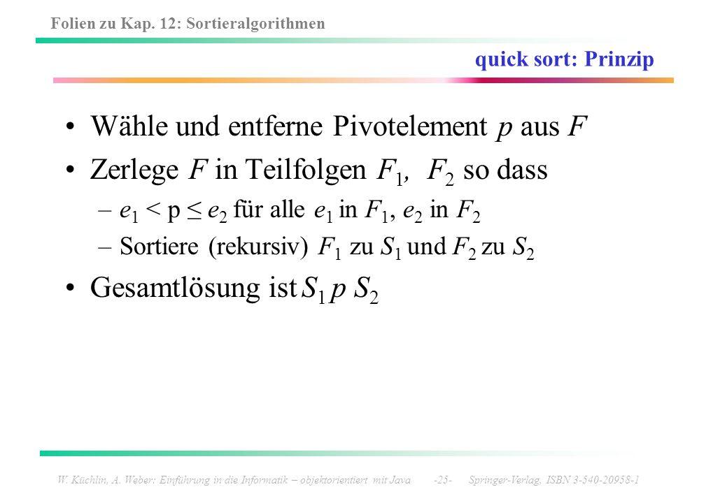 Wähle und entferne Pivotelement p aus F