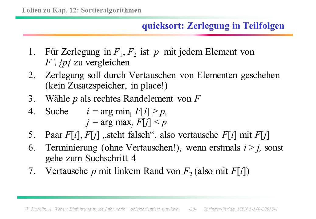 quicksort: Zerlegung in Teilfolgen