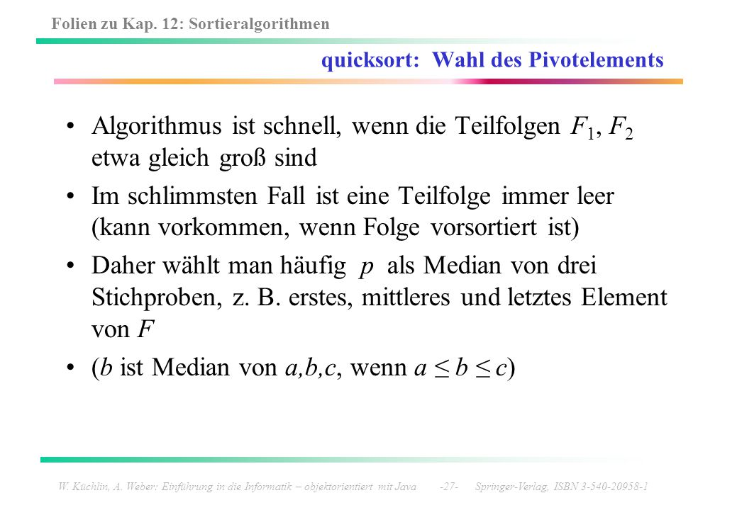 quicksort: Wahl des Pivotelements