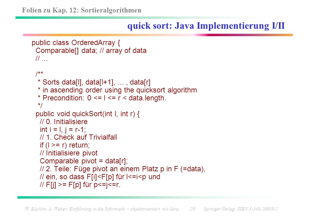 quick sort: Java Implementierung I/II
