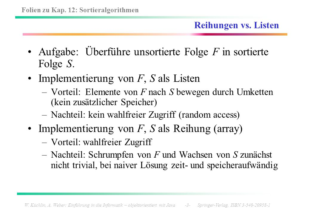 Aufgabe: Überführe unsortierte Folge F in sortierte Folge S.