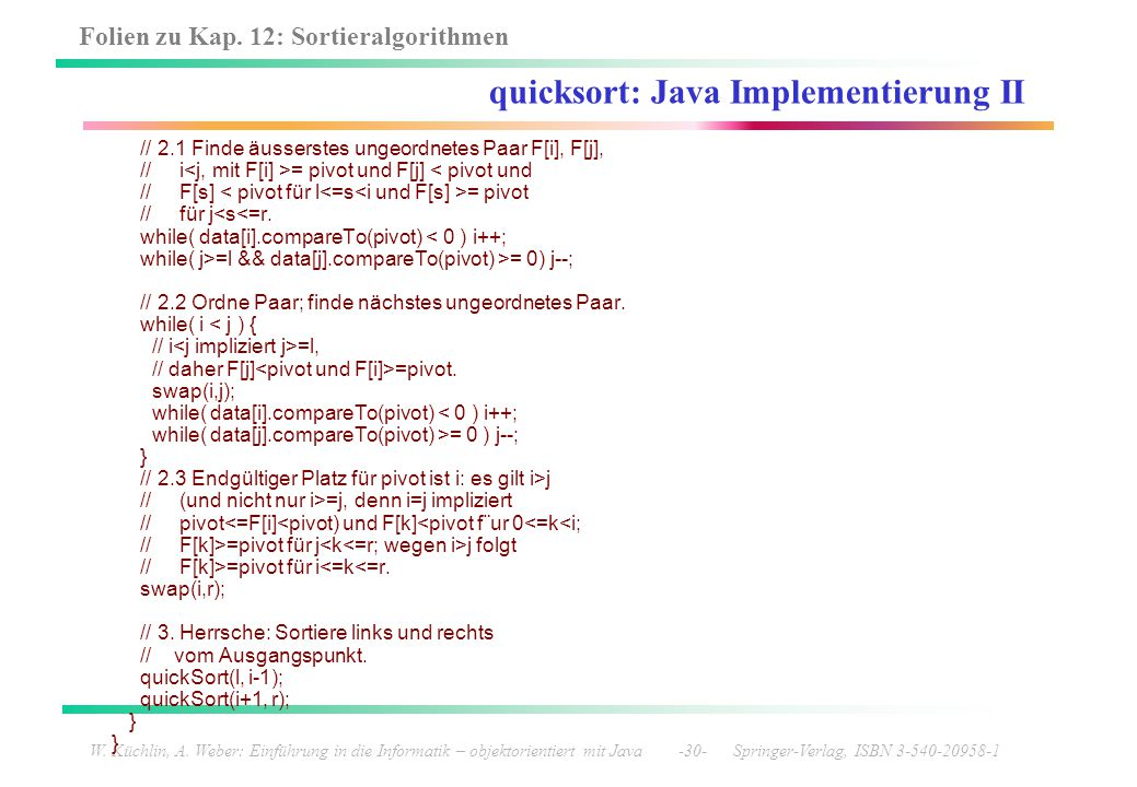 quicksort: Java Implementierung II
