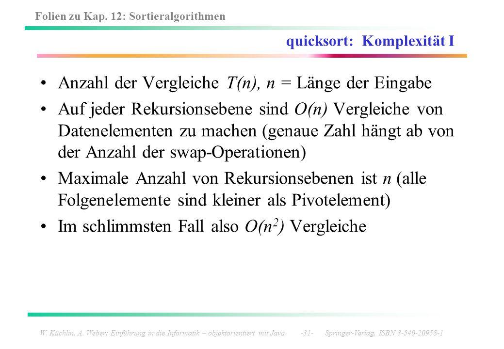 quicksort: Komplexität I