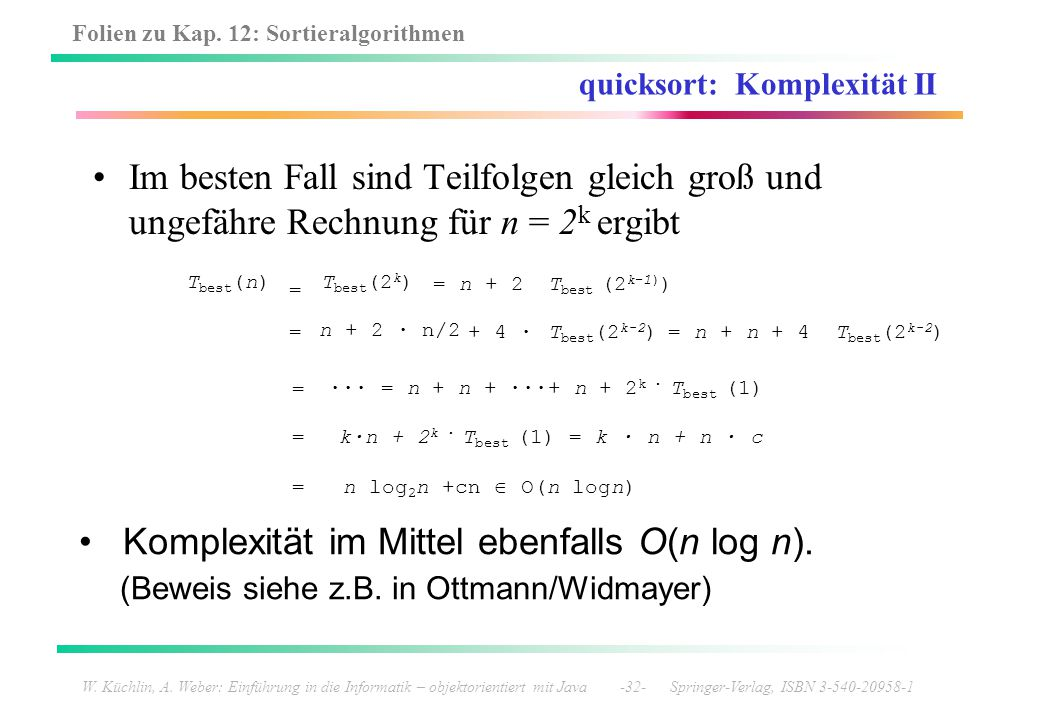 quicksort: Komplexität II