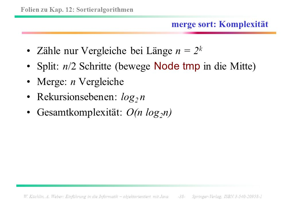merge sort: Komplexität