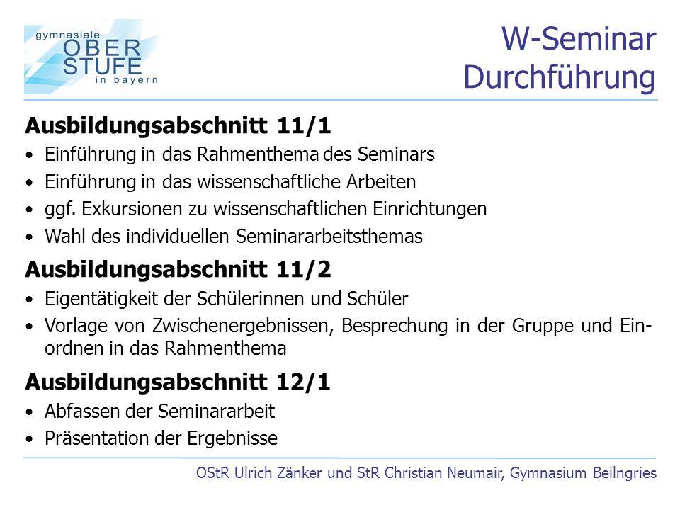 W-Seminar Durchführung