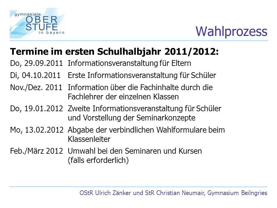 Wahlprozess Termine im ersten Schulhalbjahr 2011/2012:
