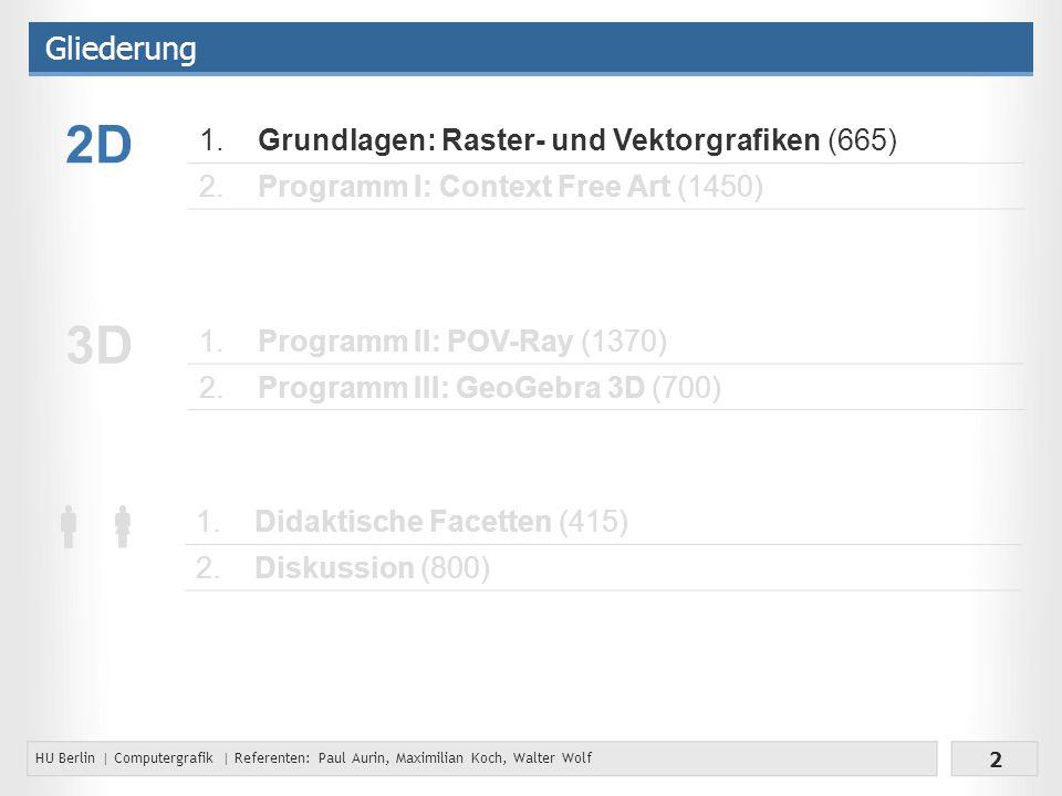 2D 3D  Gliederung 1. Grundlagen: Raster- und Vektorgrafiken (665) 2.