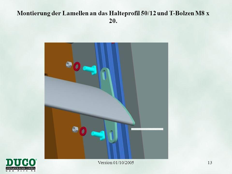 Montierung der Lamellen an das Halteprofil 50/12 und T-Bolzen M8 x 20.