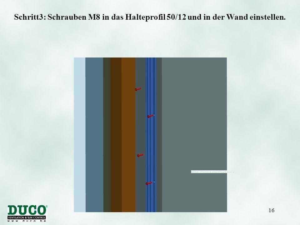 Schritt3: Schrauben M8 in das Halteprofil 50/12 und in der Wand einstellen.