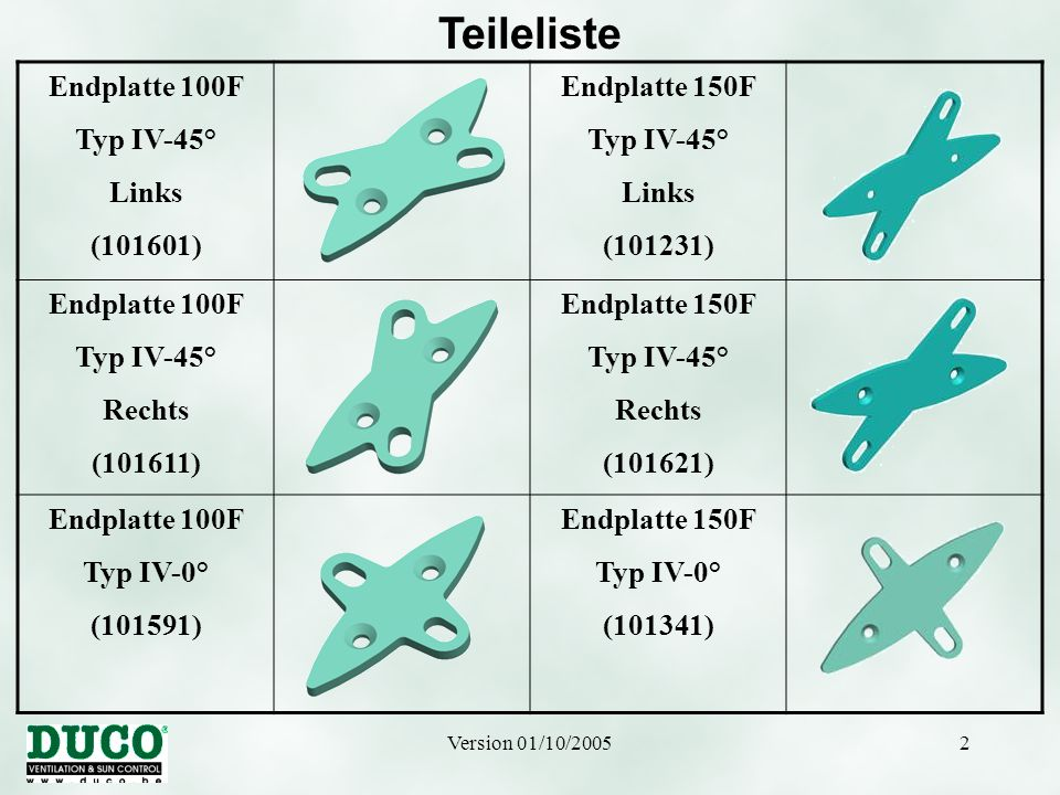 Teileliste Endplatte 100F Typ IV-45° Links (101601) Endplatte 150F