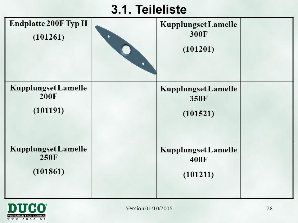 3.1. Teileliste Endplatte 200F Typ II (101261)