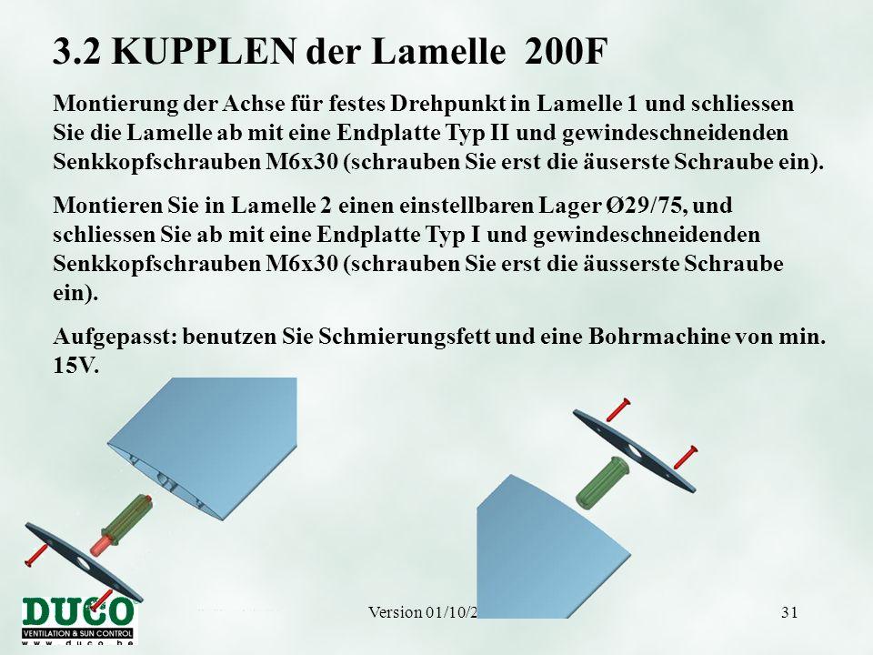 3.2 KUPPLEN der Lamelle 200F