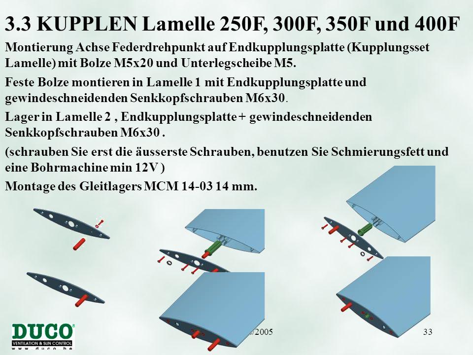 3.3 KUPPLEN Lamelle 250F, 300F, 350F und 400F
